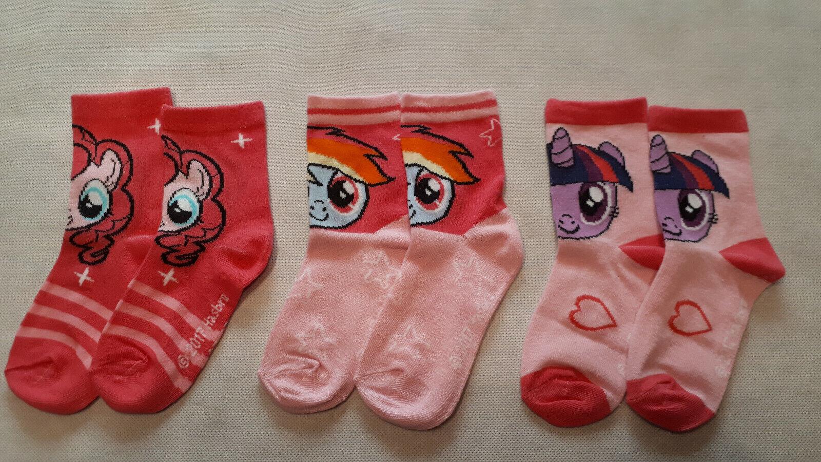 """""""My little Pony"""" Kinder Mädchen 3er Pack Socken Strümpfe Bunt mit Motiv Gr.23-34"""
