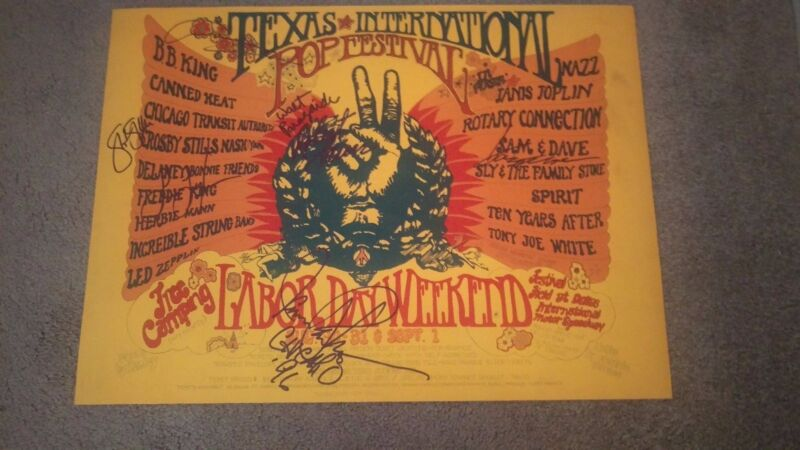 JANIS JOPLIN ZEPPELIN KING CROSBY STILLS CHICAGO SLY AUTOGRAPHED CONCERT POSTER