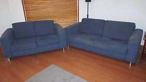 1x2 seater and 1x2.5 seater sofa. Blue fabric very good condition Meadow Heights Hume Area Preview