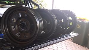 Black sunraysias steel rims roh patrol landcruiser O'Halloran Hill Marion Area Preview