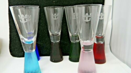 Royal Caribbean Liquor Shooter Glasses - Set of 6 with different colored bottoms