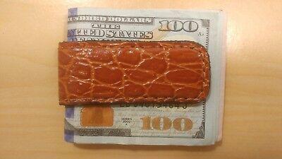 Handcrafted Brown Alligator Grain Print Leather Magnetic Money Clip cash holder