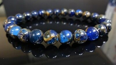 - Genuine Blue Goldstone Jade Bead Bracelet for Men (Stretch) 8mm - 8