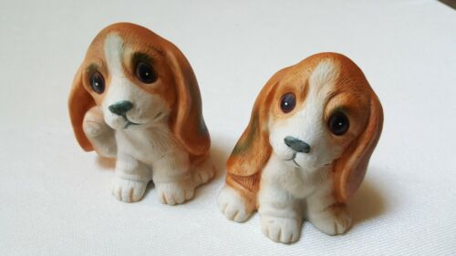 "2 Vintage Homco Ceramic Dog Figurines # 1407-Approx. 3 1/4"" High-Expressive Eyes"