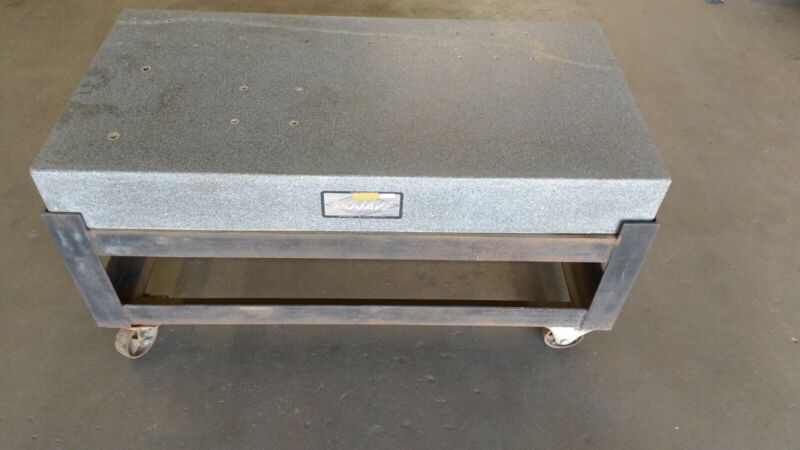 """24"""" x 48"""" x 6"""" Mojave Granite Surface Plate with rolling steel stand"""