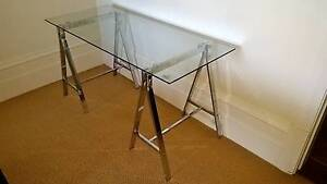 Trestle Glass Desk from Freedom Furniture Hunters Hill Hunters Hill Area Preview