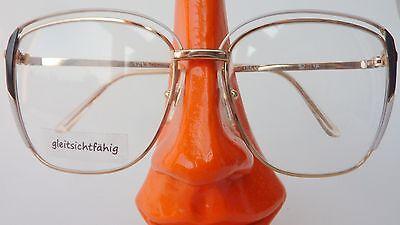 Damen Vintage Brille 70s frame mit XXL Gläser gold schwarz weiß von Rotary Gr M
