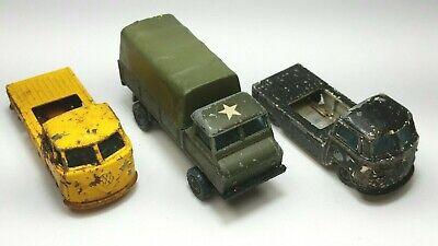 3 LOT Husky Vintage Die Cast Cars 2 Volkswagen Pick Ups, 1 Army Land Rover Truck