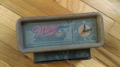 Vintage Miller Beer Advertising Clock sign electric for parts Man Cave decor