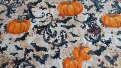 "Brand New Pumpkins Swirls and Bats 100% Cotton by the 1/2 yard 18"" x 44"""