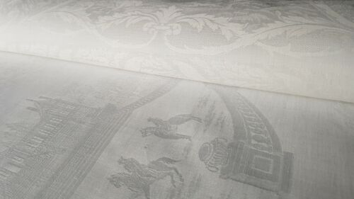 1 XXL EXTRAORDINARY Antique French Napkin DAMASK  hand monogrammed initals LM