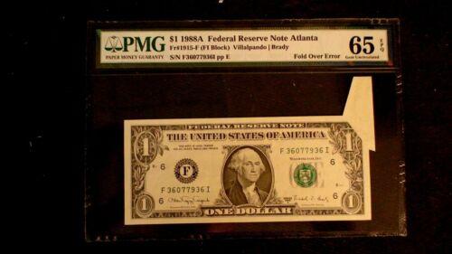 RARE 1988 A $1 Federal Reserve PMG 65 EPQ FOLD OVER  ERROR NOTE ATLANTA Bill!