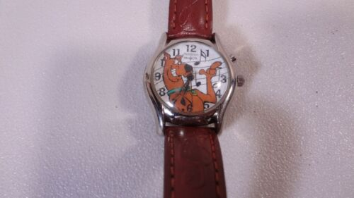 Vintage Armitron Scooby Doo Musical Watch with Brown Imprinted Leather Band