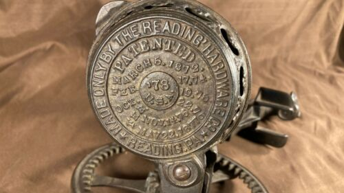 Antique Reading Hardware Co 1878 Apple Peeler Parer Primitive 78