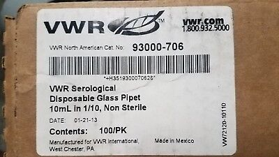 Vwr 93000-706 Serological Disposable Glass Pipet 10ml In 110 - Box Of 100