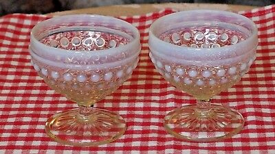 VINTAGE Pair/OPALESCENT HOBNAIL GLASS-Dessert Cups w/Pedestal made in USA PREOWN