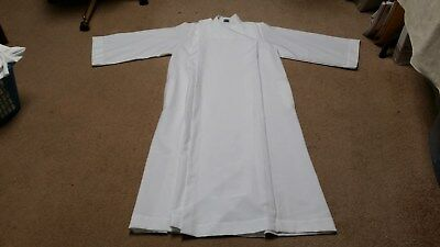 LITURGICAL CLERGY SERVER ABBEY BRAND ALB SZ 16 FRONT WRAP WHITE