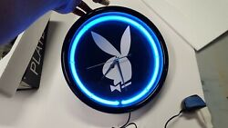 Playboy rabbit head neon wall clock - Blue Neon ring - Mint condition with box