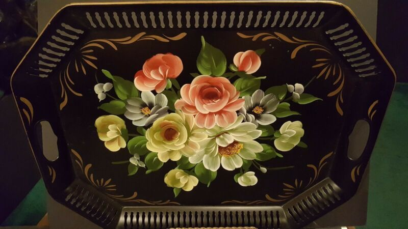 Vintage Toleware Metal Tray Large Black Hand Painted Floral Reticulated Handles