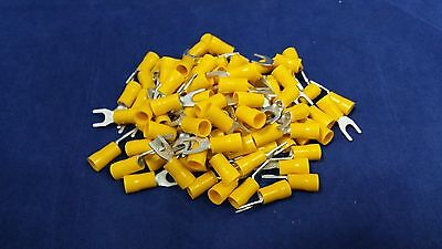 10-12 Gauge Vinyl Spade 10 100 Pk Crimp Terminal Connector Yellow Awg Ga Car