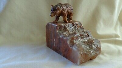 VINTAGE SPELTER BEAR ON MARBLE