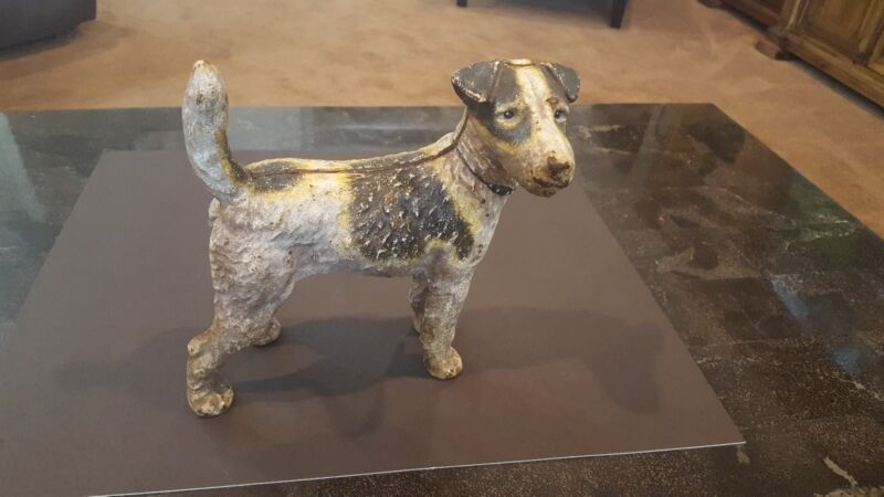AIREDALE WIRE HAIRED FOX TERRIER DOG Cast Iron HEAVY DOORSTOP LARGE STATUE