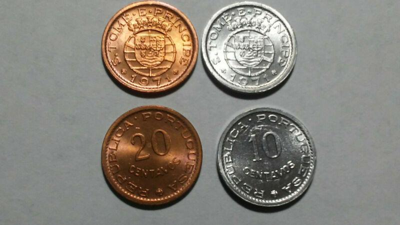 SAO TOME: 1971 UNCIRCULATED COIN PAIR, 10 & 20 CENTAVOS
