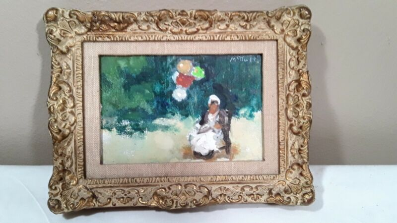 Frederick H. McDuff BALLOON LADY Impressionist Oil Painting Framed Miniature