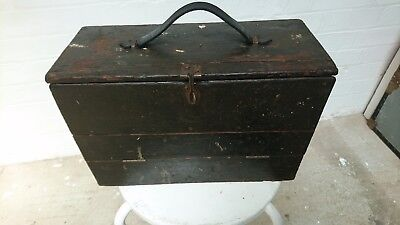Antique Engineers Tool Box. Vintage Collectors Cabinet Wooden Box