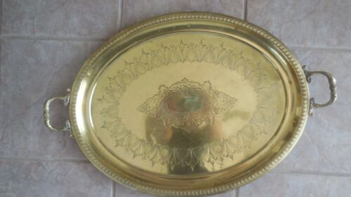 """Antique Middle Eastern Brass Large Oval Tray 26"""" x 17"""""""