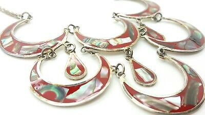 Crescent and Droplet Abalone Inlay Alpaca Necklace w/ Sterling Silver Chain  for sale  Madison