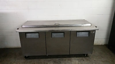 True Qa-72-30m-b Raised Rail 3 Door Refrigerated Pizza Prep Table No Hingeshelf