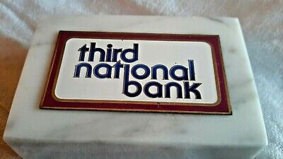 THIRD NATIONAL BANK ITALIAN CARRARA MARBLE PAPERWEIGHT TRI-LINE JASIMCO VINTAGE