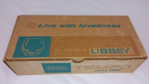 8 Libbey Tempo 4.5oz Cocktail Glasses Vintage / Retro New In Open Original Box