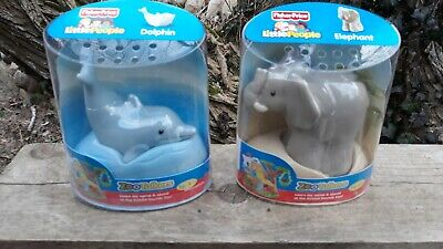 Fisher Price Little People Zoo Talkers Lot 2 Dolphin Elephant IOB