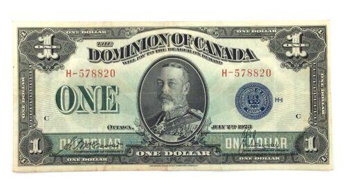 1923 One 1 Dollar Dominion Of Canada Prefix H Canadian Banknote L054