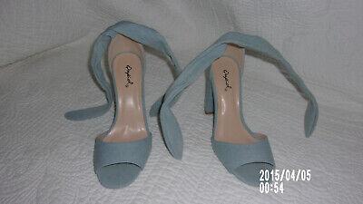 Qupid Shoes Women's Size US 5 Denim Like Tie Ankle Strap/Light Blue/EXCELLENT