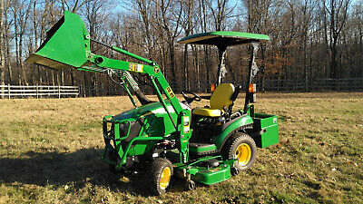 John Deere 1025r Compact Utility Tractor With H-120 Loader Mower Ballast Box
