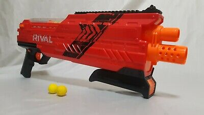 Nerf Rival XVI-1200 Comes With 10 Nerf Ball Ammo Red Black EUC Tested Works
