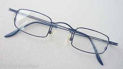 Italien Design dünnrandige Unisex Brille blau kleine eckige Form leicht Gr. S