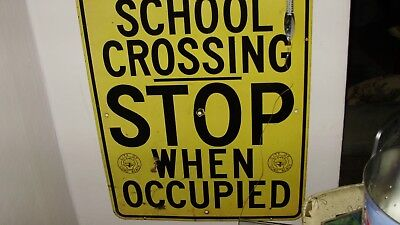 Vintage porcelain School Crossing Sign City of Long Beach Ca STOP when occupied