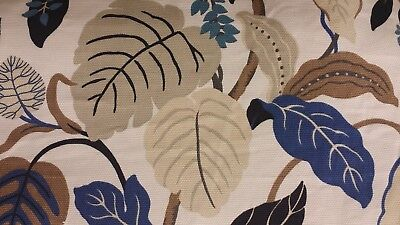 3Y BRMORE ROSSANO PERI LARGE LEAF BLUE BROWN IVORY BASKETWEAVE UPHOLSTERY FABRIC