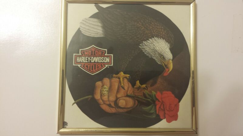 "Harley Davidson 6""x6"" Framed Eagle Picture"