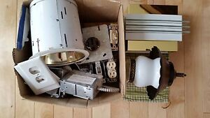 Box of miscellaneous electrical and lighting fixtures