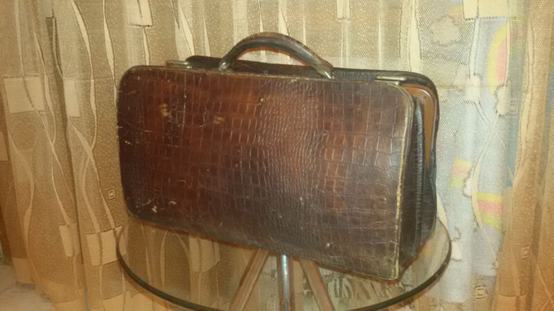 ANTIQUE OLD MEDICAL DOCTOR LEATHER BAG