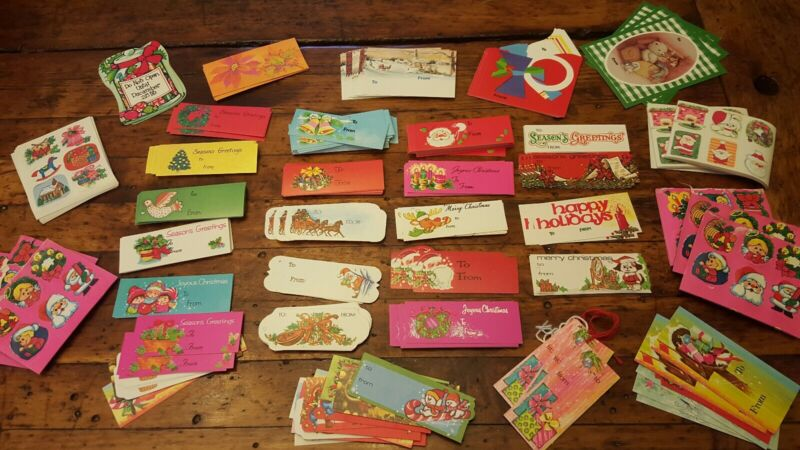 Vtg Lot of 280+ Christmas Holiday Gift To/From Tags Unused Plus Many Stickers