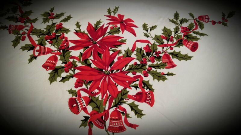 VINTAGE WILENDUR CHRISTMAS HOLLY BELLS RIBBONS POINSETTIA TABLECLOTH 84x 57