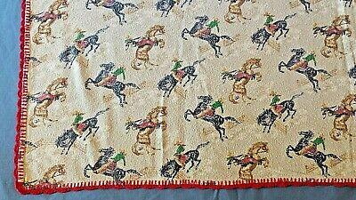 Western Decore (Vtg Small Blanket Throw Western Decor Cowboy Bucking Bronco Rodeo Baby Wall)
