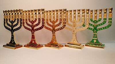 Menorah, Temple, color GREEN, Messianic, YESHUA, Jesus