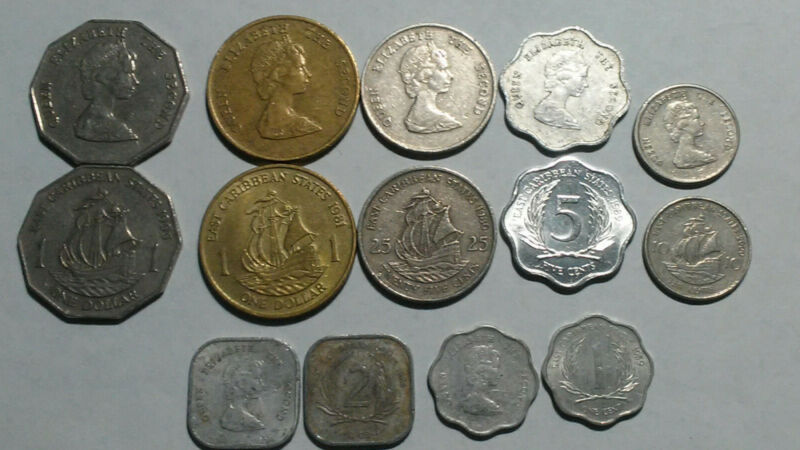 EAST CARIBBEAN STATES: 7 PIECE CIRCULATED COIN SET, 0.01 TO $1